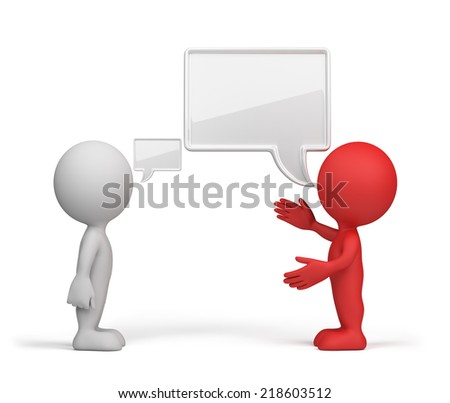 A conversation with the head of the slave. 3d image. White background. - stock photo