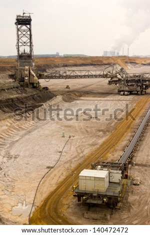 A conveyor-belt and excavator in a brown-coal mine - stock photo