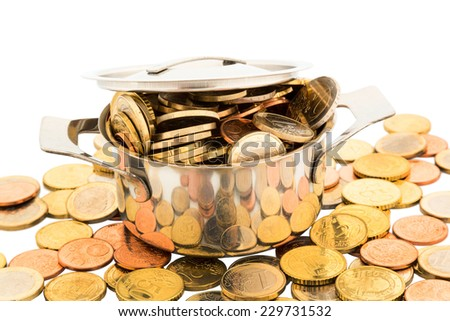 a cooking pot is filled with euro coins, symbolic photo for funding - stock photo