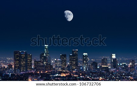 A cool night of Los Angeles - stock photo