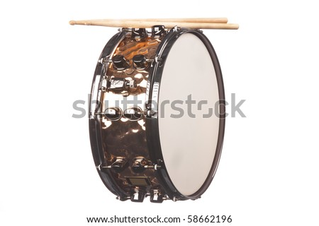 A copper snare drum with sticks isolated against a white background in the horizontal format.