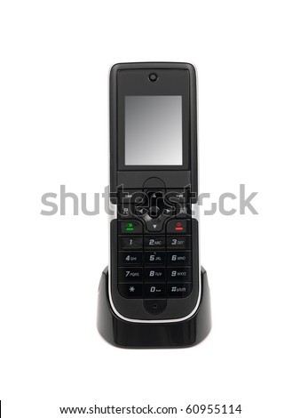 A cordless telephone isolated on a bench - stock photo