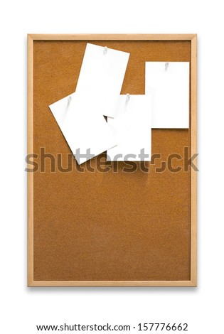 A cork noticeboard with blank paper notes on a white background. - stock photo