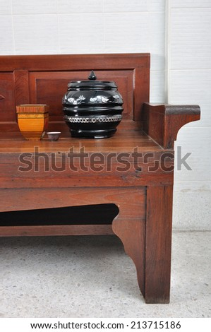 a corner of chinese lifestyle on wooden chair