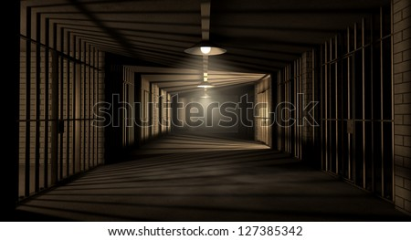 A corridor in a prison at night showing jail cells illuminated by various ominous lights - stock photo