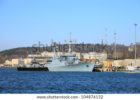 A corvette warship belonging to the Polish Navy. - stock photo