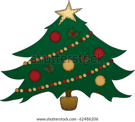 a country Christmas tree decorated - stock photo