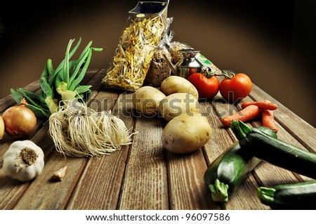 a country dinner - stock photo