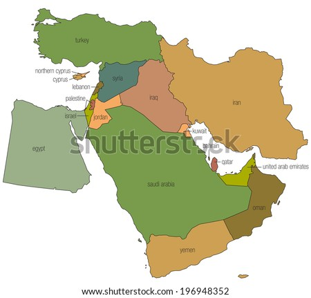 A country map of the middle east in full color with the country names called out - stock photo