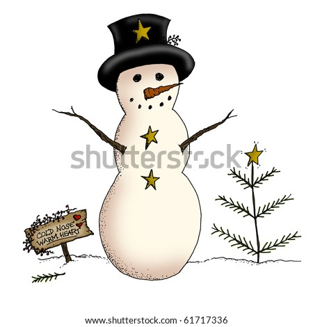 A country snowman and primitive Christmas tree in a holiday scene - stock photo
