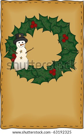 A country snowman wreath proportionately sized for standard half-sheet greeting card designs - stock photo