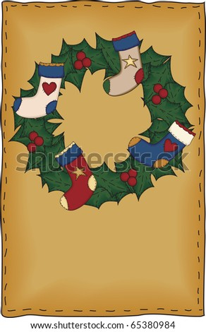 A country stocking wreath proportionately sized for standard half-sheet greeting card designs - stock photo
