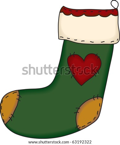 a country style Christmas stocking - stock photo