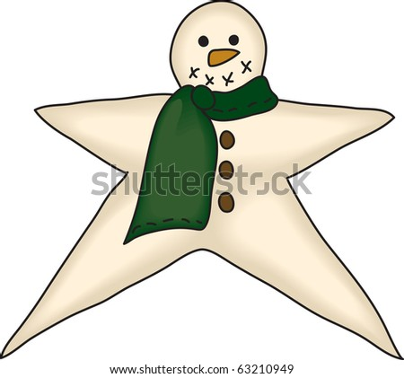 a country style snowman star - stock photo