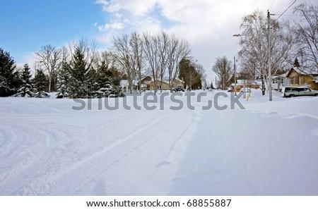 A country winter scene - stock photo