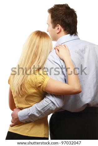 A couple, a back view - stock photo