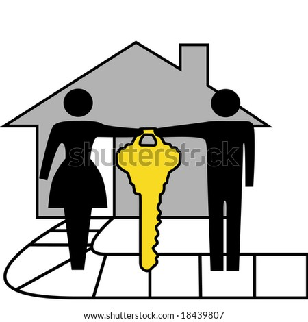 A couple hold a gold house key to family home.