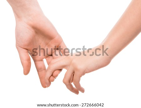 A couple holding hands on white background. - stock photo