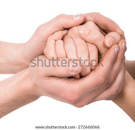 A couple holding hands on white background.