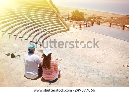 A couple in the Kourion's amphiteater. Cyprus - stock photo