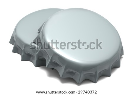 A couple of bottle caps on a white background - stock photo
