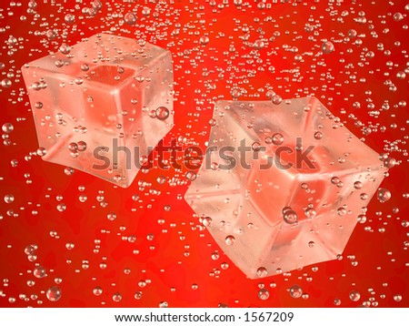 A couple of ice cubes swimming in red drink. Photorealistic 3D rendering. - stock photo