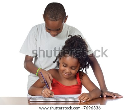 A couple of kids studing together over white background