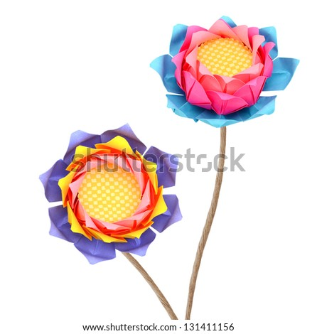 A couple of lotus origami paper - stock photo