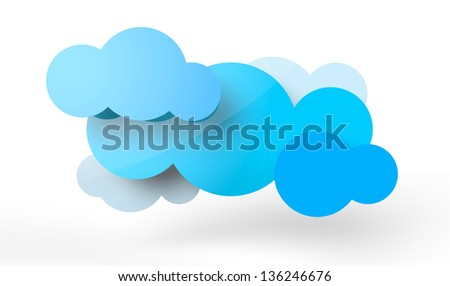 A couple of rendered clouds in vector-look. Can be used for signage or as a logo.