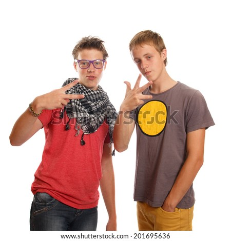 A couple of teen boys hanging out - stock photo