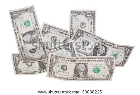 A couple of used dollars (All different numbers) isolated on a white background
