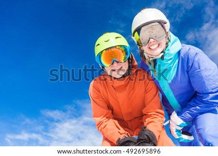 a couple on mountain vacation. Dolomiti Superski, Itlay