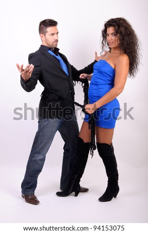 a couple playing and flirting - stock photo