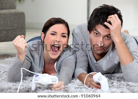 a couple playing video games