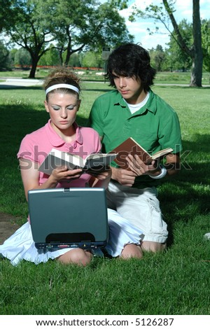 A couple studying in the park