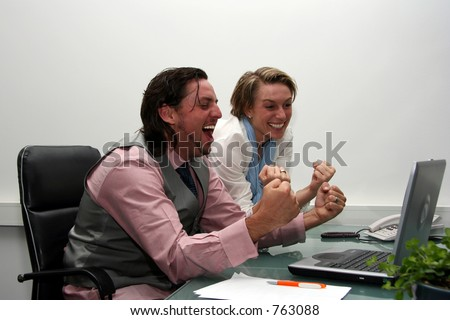 A couple with a success story emotion - stock photo