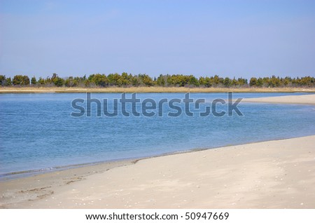 A cove between the ocean and the bay - stock photo
