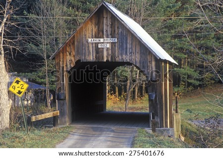 A covered bridge in autumn in Turnbridge, Vermont - stock photo