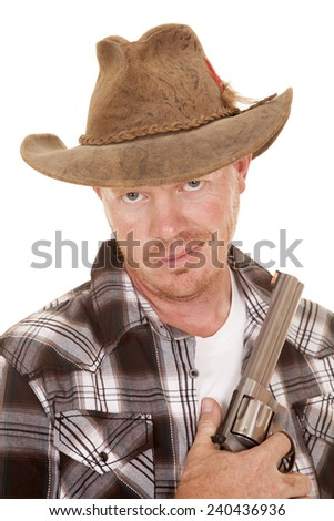 a cowboy in his western hat holding on to his pistol. - stock photo