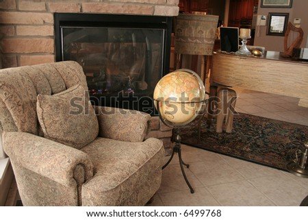 A cozy living room with a fireplace