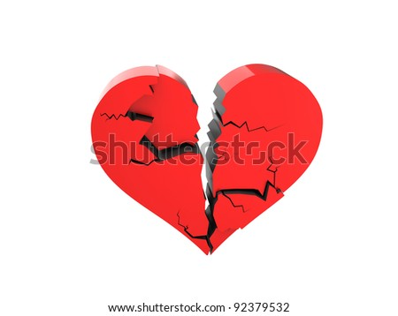 A cracked heart isolated on a white background - stock photo