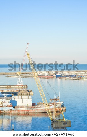 A crane in the harbor