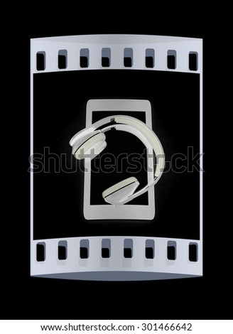 a creative cellphone with headphones isolated on black, portable audio concept. The film strip - stock photo
