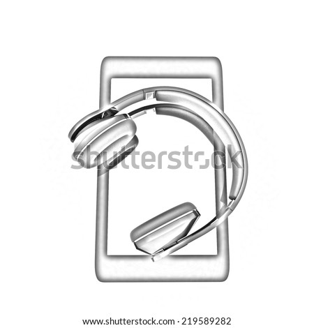 a creative cellphone with headphones isolated on white, portable audio concept. Pencil drawing  - stock photo