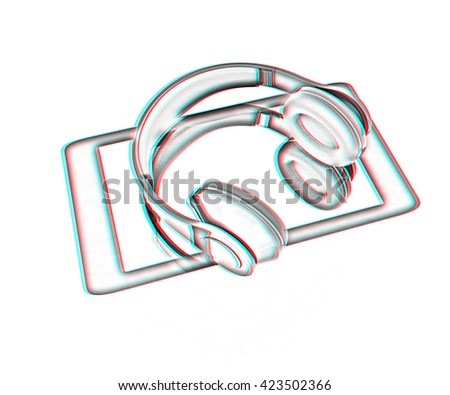 a creative cellphone with headphones isolated on white, portable audio concept . Pencil drawing. 3D illustration. Anaglyph. View with red/cyan glasses to see in 3D. - stock photo