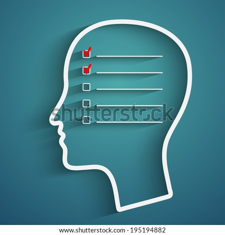 A creative concept of human memory with head and checkbox - stock photo