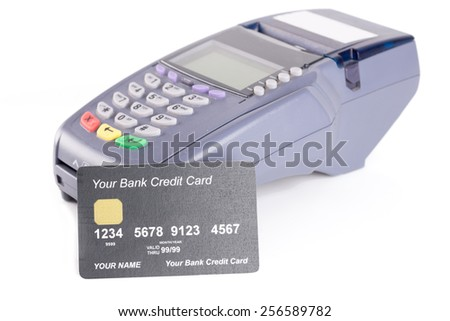 a credit card with credit card machine - stock photo