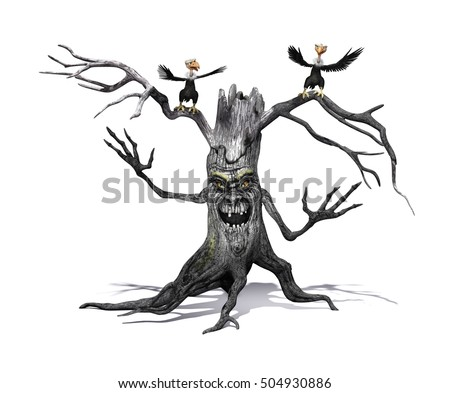 A creepy smiling tree with angry cartoon vultures - 3d rendering.
