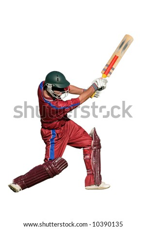 A cricket batsman in action, isolated on white - stock photo
