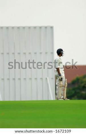 A cricket batsman ready to bat. - stock photo